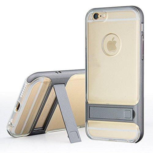 BCIT iPhone 6 Hülle - Hybrid kratzfeste stoßdämpfende TPU +PC Bumper Frame Dual Layer Tasche Schutzhülle mit Ständer für iPhone 6 - Transparent Blau Transparent & Grau