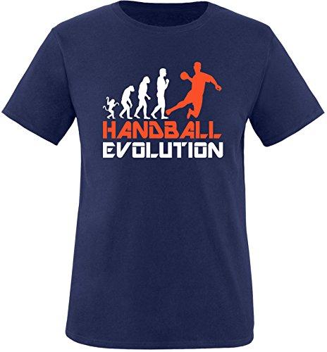 EZYshirt® Handball Evolution Herren Rundhals T-Shirt Navy/Weiss/Orange