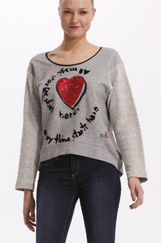 Desigual Pullover Donna maglietta Felpa Camicia lunga VIDA - Grigio, XS, grigio