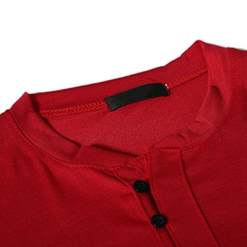 ZhiYuanAN Herren Henley Shirt Normallack Wild Kurze Ärmel T-Shirt Casual Rundhals Schlanke Passform Tee Tops Rot