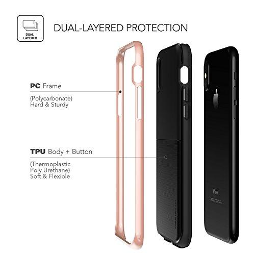 iPhone X Hülle, VRS Design® Schutzhülle [Silber] Doppelschichter Schutz Premium Silikon und PC Case Dual Layer TPU Bumper Cover Handyhülle [High Pro Shield] für Apple iPhone X, iPhone 10 Rosa Gold