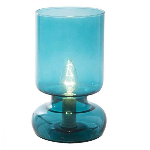 Lampe de chevet Stilo, lampe décorative verre, 40 W, bleu, ø 12,5 x H 24cm