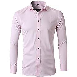 Harrms Camisa Bambú Fibra Hombre, Manga Larga, Slim Fit, Camisa Elástica Casual/Formal Para Hombre, Rosa, XS