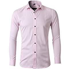 Idea Regalo - Camicia Elastica di bambù Fibra per Uomo, Slim Fit, Manica Lunga Casual/Formale, Rosa, XS