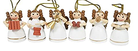 khevga Décoration de Noël pour sapin: boîte de 6 anges en bois