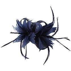 MBZY Tocados Pelo Plumas Mujer Flores Diadema con Clip Vintage Boda Noche Fiesta Azul Oscuro
