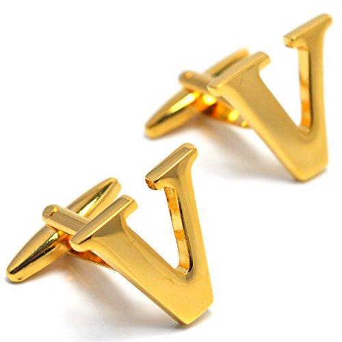 MESE London Buchstabe Name V Initiale Manschettenknöpfe 18 Karat Vergoldet in Luxus Geschenkbox