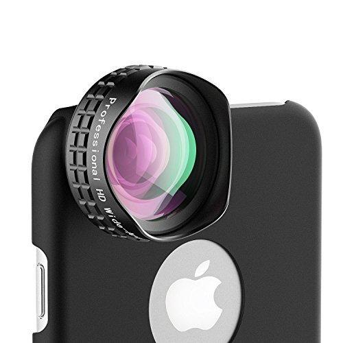 AUKEY Objektiv Handy Clip 0.7x Weitwinkel Objektiv mit Schutzhülle für 6plus / 6s Plus Universal Halteklemme für iPhone 6 / 6S , iPhone 5S / 5, Samsung Galaxy S6 / S6 Edge / S5, Sony usw. Schwarz