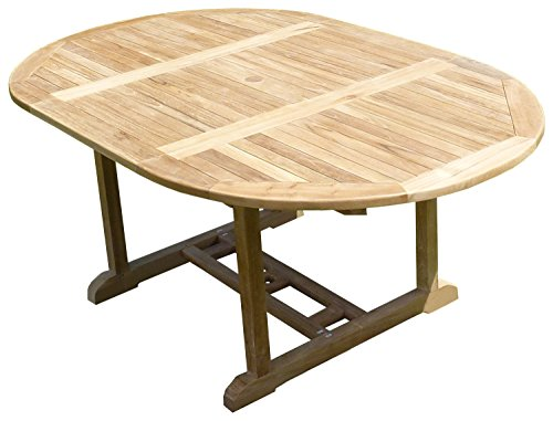 Teck'Line MJETASAWP Sawah Table de Jardin Ronde/Ovale en Teck Beige 180 x 120 x 75 cm