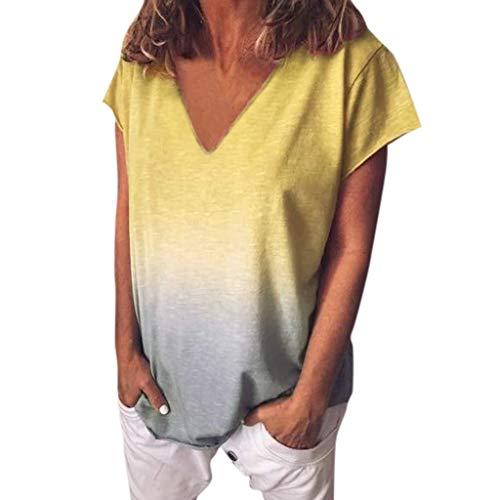 Damen Kurzarm T-Shirt Beiläufig Farbverlauf Shirt Rundhals Blusen Sommer Lose Shirt Tees