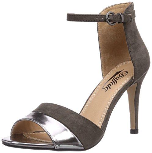 Buffalo Shoes 312339 MET PU IMI SUEDE, Damen Knöchelriemchen Sandalen, Grau (PEWTER 01), 37 EU (Damen Fashion-sandalen Pu)