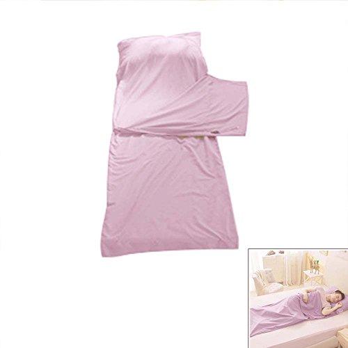 Lingjun sottile sacchi a pelo cotone per campeggio portatile saccoa pelo camper resistente sleeping bag super morbida con tasche per viaggio picnic (pink 1, individuale 75cm*210cm)