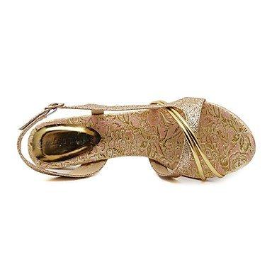 LvYuan Damen-Sandalen-Kleid Lässig Party & Festivität-Leder-Stöckelabsatz-Komfort Club-Schuhe-Gold Gold