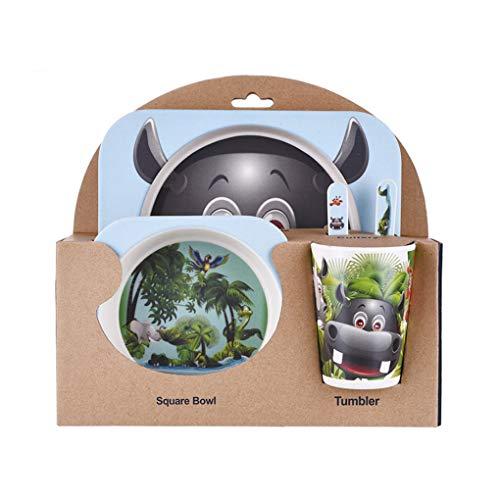 Coconut Coco Kinder-Geschirr-Set 5er Baby-Bambusfaser-Cartoon Bowl Tier Geschirr Set Kleinkind-Cup-Löffel-Gabel Gabel Cup Set