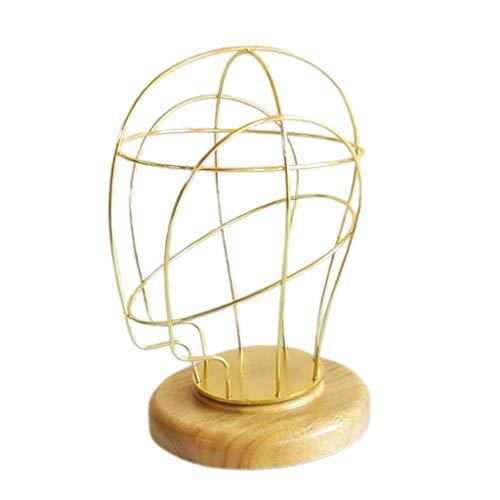 T TOOYFUL Stabile Metall Perückenständer Hutständer Hüte Haube Mütze Kappe zur Anzeige Displays Schaufenster Dekokopf - Golden 01