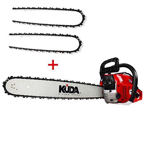 KUDA CN-52 Motosierra de Gasolina, 2 tiempos, 2 cadenas extras, roja, espada 50 cm, 3 cv, 52 cc