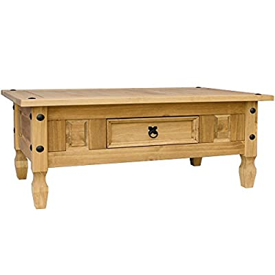 Home Discount Corona Coffee Table 1 Drawer Solid Wooden Pine Waxed Finish Furniture - cheap UK light store.