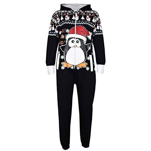 A2Z 4 Kids Kinder Mädchen Jungen Neuheit Weihnachten - Xmas Onesie Penguin Black 13 (Penguin-schlafanzug Für Mädchen -)