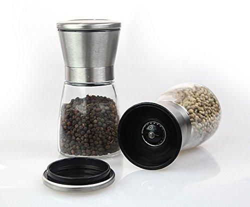 Moledor de sal y pimienta  molinillo manual de sal y pimiento  ajuste regulable de la finura con carcasa de acero inoxidable y gran capacidad (2 PC)