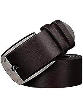 ✽Internet✽ Hombres de la vendimia de metal hebilla cinturón de cuero clásico pin hebilla cinturones (Marrón)