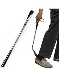 Generic alta calidad larga mano nueva Flexible de acero inoxidable mango largo Calzador Calzador ayuda 1039longitud 60cm
