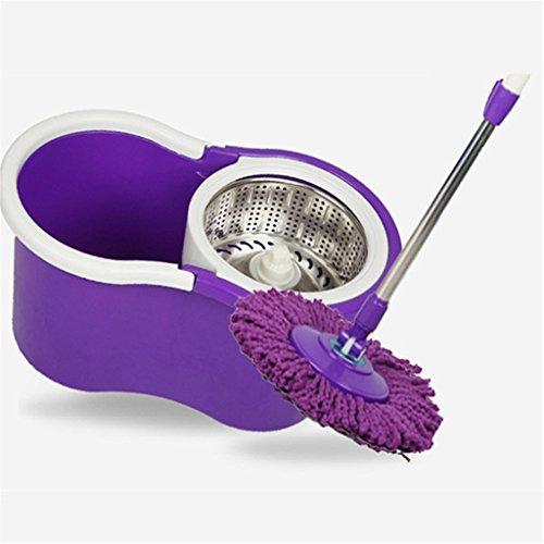 CN Mop Eimer Rotation Doppelantrieb Mopp Handdruck Trocken Wischmopp Kostenlose Handwäsche Geeignet Für Die Tägliche Bodenreinigung Geben Sie Zwei Wischmopps,Purple