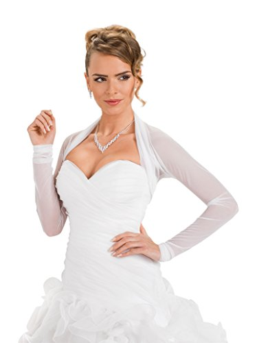Ossa - Bolero, Bolerojaeckchen fuer Hochzeit aus elastischem Tuell, hochwertig, mit langen Aermeln, Gr. 40-42 (L/XL), elfenbein