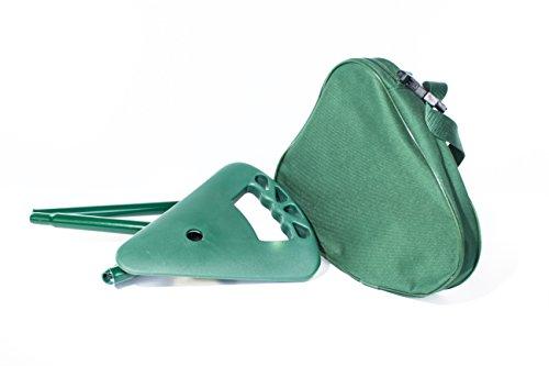 Bastón de senderismo–Bastón asiento con asiento plegable con bolsa, color verde