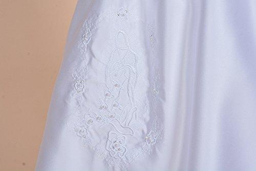 Cinda Traditionelle Baby-Satin Langarm Taufkleid und Motorhaube Weiß 56-62 - 3