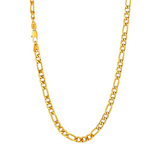 U7 Herren Kette 18k vergoldet 5mm Halskette Schmuck Figaro Kette (1+3) Hip Hop Gliederkette für Männer Jungen 66am lang - Gold (- 22-zoll-gold-chain)
