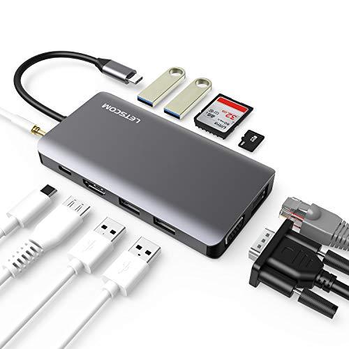 USB C Hub, LETSCOM 11 in 1 USB C Adapter mit Ethernet, 4K HDMI, VGA, USB C PD, 2 USB3.0 &USB2.0, SD/TF Kartenleser, Mic/Audio, kompatibel für USB C-Geräte