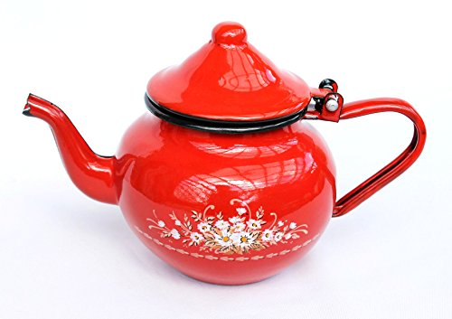 Teekanne BsB 83/07 Rot emailliert Wasserkanne Kaffeekanne Emaille Nostalgie