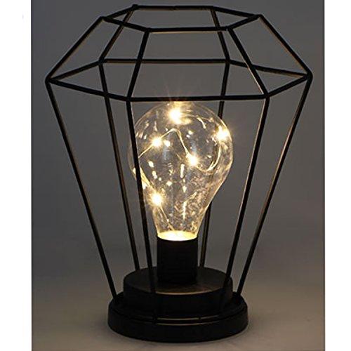 Designer Metall LED Lampe Geometrisch Glühbirne Laterne Schwarz H22cm Batterie betrieben Messeneuheit
