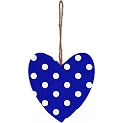 Tela de lunares azul y blanco Decoraci—n de corazones colgantes