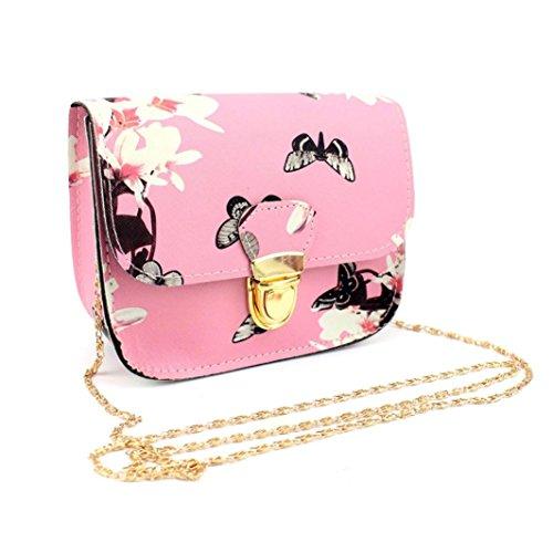 Damenhandtaschen Ronamick Frauen Schmetterling Blumen druck Handtasche Schultertasche Tote Messenger Bag Henkeltasche HandtascheTasche Henkeltasche Umhängetasche Schultertasche (Rosa) (Rosa Und Gold Handtasche)