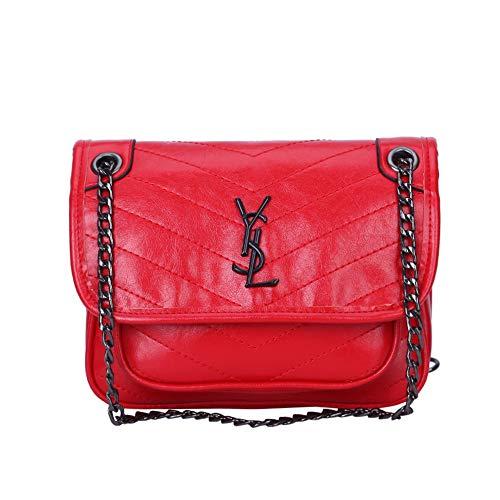 SHMONA Umhängetaschen für Frauen PU Leder Klappe Geldbörse Rote Schulterhandtaschen