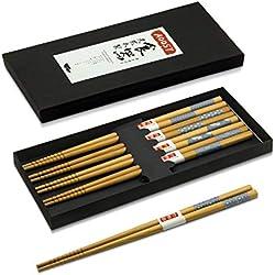 Palillos de madera japoneses, 5 pares de palillos chinos tradicionales del restaurante de madera natural fijados con la caja de regalo negra (bambú)