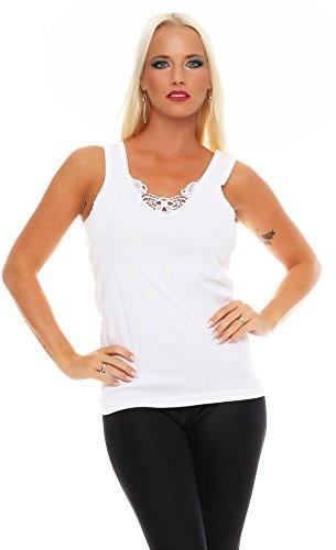 2er Pack Damen Unterwäsche mit Spitze (Unterhemd, Träger-Top, Shirt) Nr. 430 ( Weiß-Weiß / 56/58 ) - 2