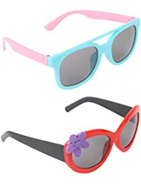 Stol'n Kids Wayfarer And Flower Sunglasses Combo Pack Of 2 Pieces For Girls/Blue And Pink/Red And Purple And Black...