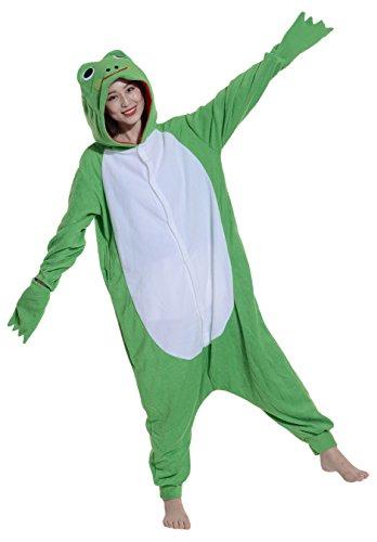 Fandecie Pyjama Tier Onesies mit Kapuze Erwachsene Unisex Cospaly Schlafanzug Halloween Kostüm Frosch Geeignet für Hohe 160-175CM