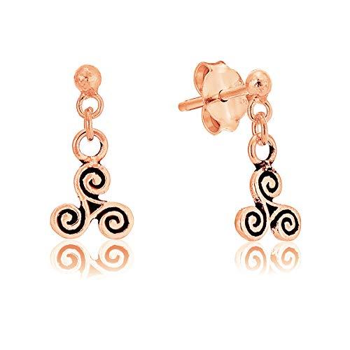 DTPsilver - Boucles d'oreilles Femme en Argent Fin 925 et Plaqué Or Rose en Forme de Triskel Celtique - 13 mm