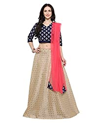 Inddus Beige Cotton Blend Semi-Stitched Woven Lehenga with Dupatta