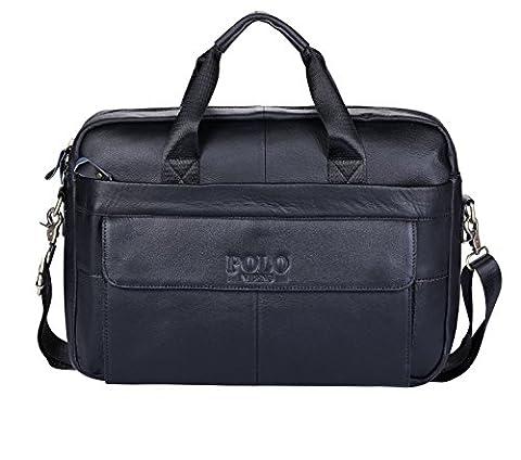 VIDENG POLO Leather Briefcase,Handmade Laptop Bag Messenger Business Bags for Men (Balck-np)