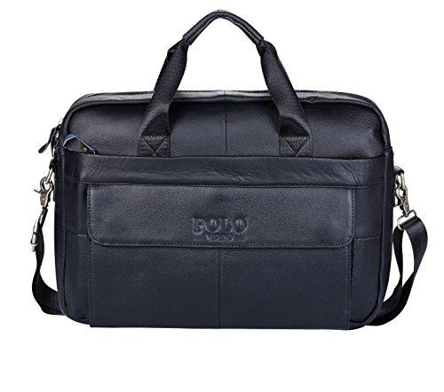 VIDENG POLO Aktentasche aus Leder,Handgefertigt Laptoptasche Bote Geschäftstaschen zum Männer (Schwarz-NP) (Herren Gucci Leder)