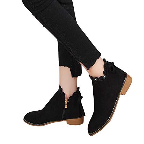 (MYMYG Damen Klassische Stiefeletten Herbst Fashion Einfach Bogen Schicke Schuhe Frauen Runde Kappe Stiefel Freizeit Business Keilschuhe Outdoor Shoes Boots Übergangsschuhe)