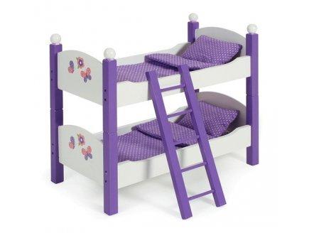 Lits superposés en bois pour poupées - violet - dim 50x28x44 cm