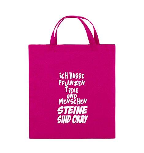 Comedy Bags - ICH HASSE PFLANZEN TIERE - Jutebeutel - kurze Henkel - 38x42cm - Farbe: Schwarz / Silber Pink / Weiss
