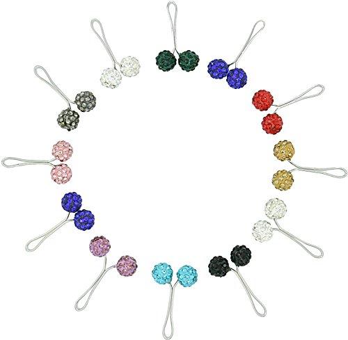 Ababalaya 4cm Muslim Multi-Use Strass Ball Pins Hijab Pins Zubehör Packung von 12 (Kleine Charme-pins)