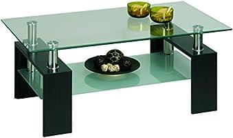 Demeyere 5686 Cyber Table Basse Panneau de Particules Wengé/Verre 110 x 60 x 45 cm