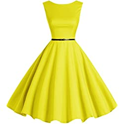 Bbonlinedress 50s Vestidos Vintage Retro Rockabilly Clásico Yellow XS